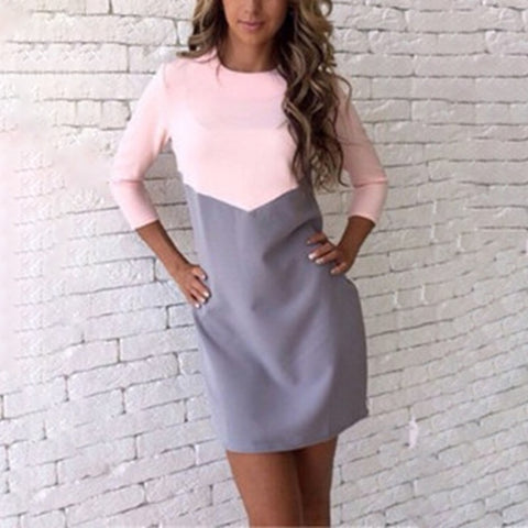 Contrast Color O neck Stitching Long Sleeve Casual Dress