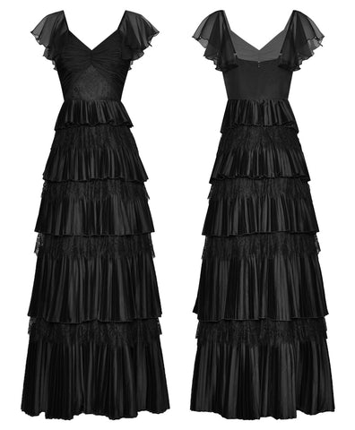 V neck Ruched Lace Patchwork Cascading Ruffle Black Dresses