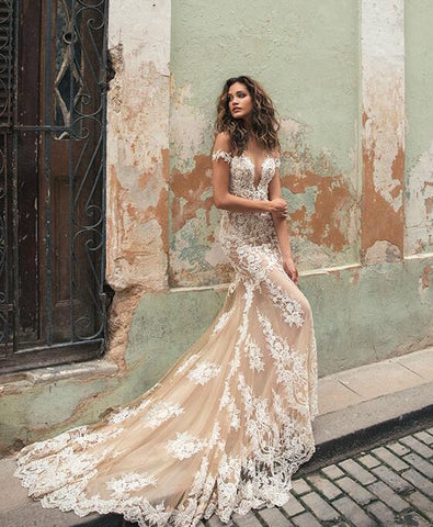 Illusion Back Mermaid Champagne Lace Wedding Dresses