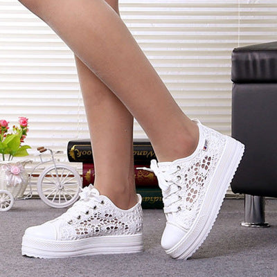 casual cutouts lace canvas hollow breathable platform flat shoes