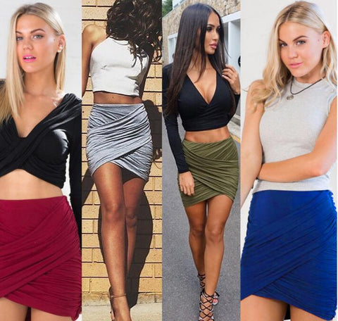 Sexy High Waist Pleated Solid Slim Short Skirts
