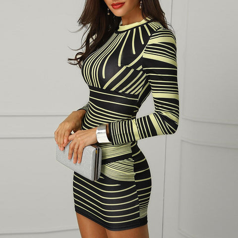 Sexy Sheath Long Sleeves O Neck Bodycon Dress