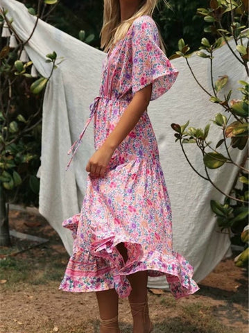 Vintage chic pink Floral print sleeve rayon V neck maxi Bohemian dresses