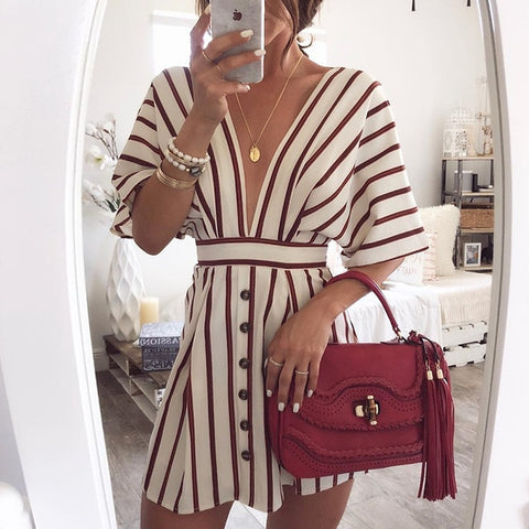 Vacation Beach Striped Button Dress Sexy Deep V Neck Loose Bohemian Dresses