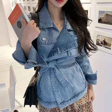 Chic Asymmetrical Lapel Collar Long Sleeve Lace Up Denim Jackets