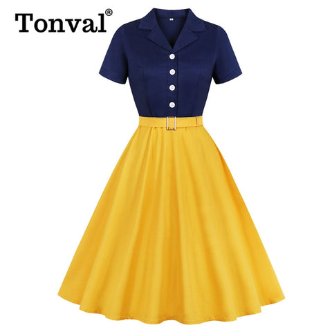 Navy Blue and Yellow Two Tone Button Up Cotton Elegant Belted Rockabilly Vintage Dresses