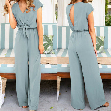 Short Sleeve Long Pant Solid Backless V Neck Jumpsuits