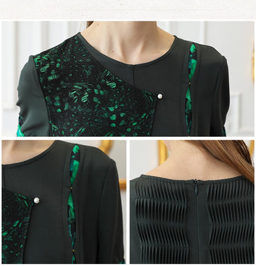 Heavy Silk Wide Leg Georgette Print Green Slim Pearl Clasp Casual Jumpsuits
