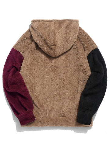 Color Blocking Splicing Fuzzy Pullover Hoodie