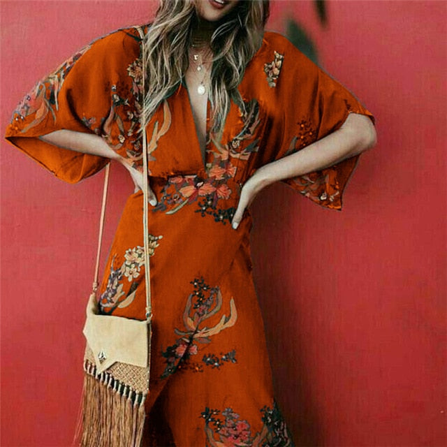 V Neck Floral Print Kimono Style Half Sleeve Long Maxi Wrap Dress