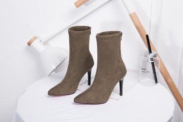 Pointed Toe Yarn Elastic Ankle Boots