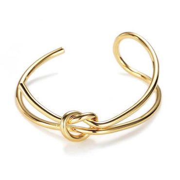 Metal Gold Copper Plated Double Layer Knot Bracelets