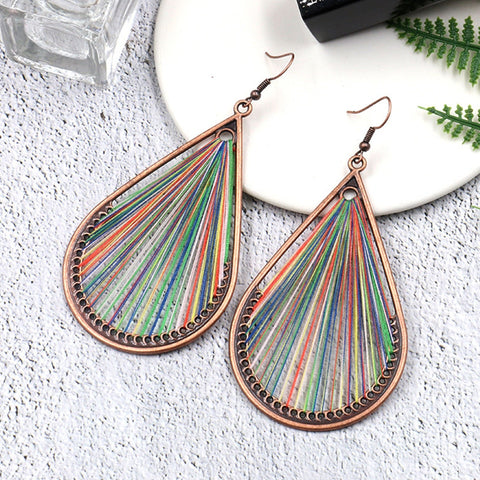 Water Drip String Ethnic Drop Earrings Boho Bohemian Accessories