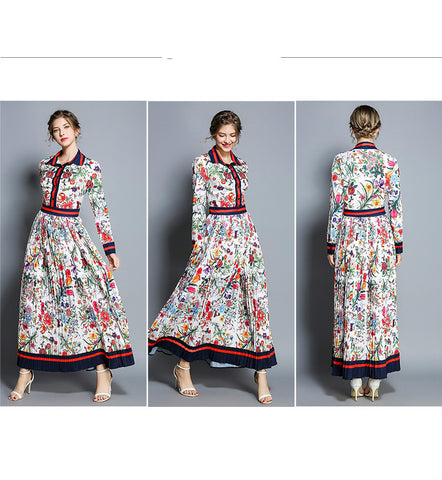 Pleated Maxi Polo Neck Flower Full Sleeve Floral Printed Vintage Dresses