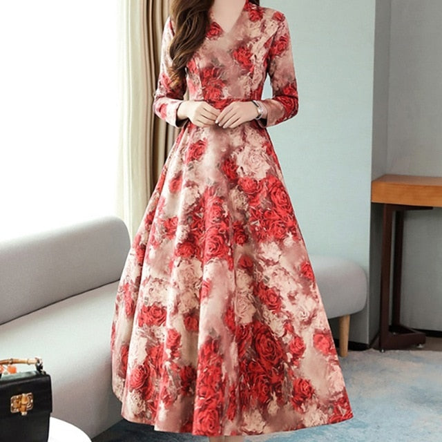 Vintage V neck Long Sleeve Big Swing Elegant Princess Print Floral Dresses