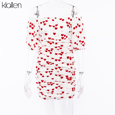 Sexy Short Sleeve Heart Print Off Shoulder Dress