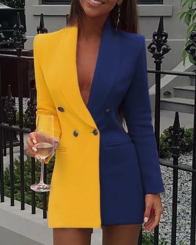 Patchwork Long Sleeve Sexy Deep V Neck Button Design Casual Blazer Dresses
