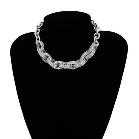 Punk Rhinestone Cross Twist Chunky Chain Choker Necklace