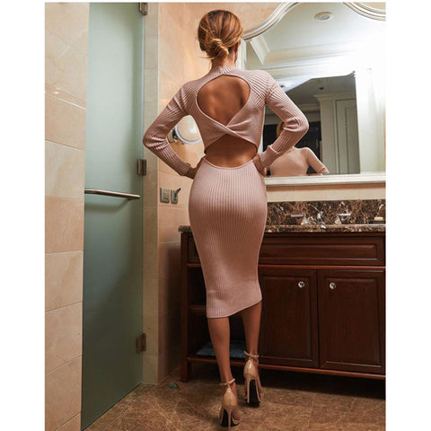 Solid Backless Vintage Skinny Sheath Sweater Long Length Sexy Dress
