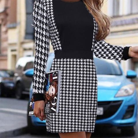 Sexy Long Sleeve Short Vintage Print Slim Mini Office Dresses