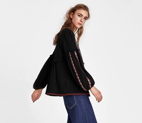 Cotton ethnic geometric Embroidery loose puff long sleeve Bohemian Jackets Coats