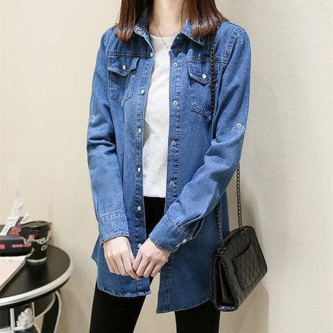 Turn Down Collar Long Solid Long Sleeve Casual Solid Denim Jacket