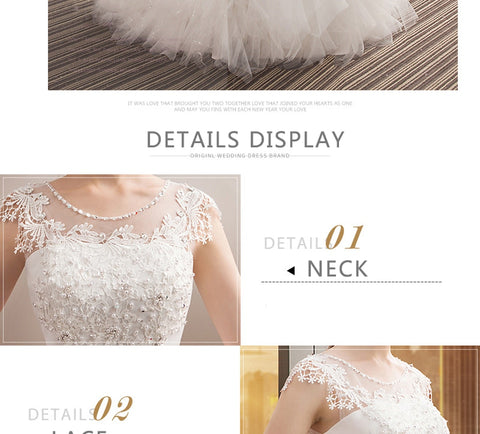 O Neck Appliques Bohemian Long Lace Up long sleeve white wedding dress