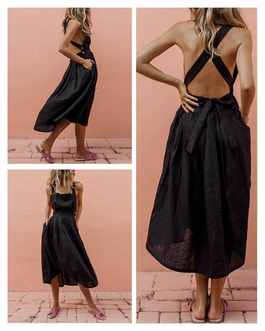 High Waist Bare Back Bow Midi dress