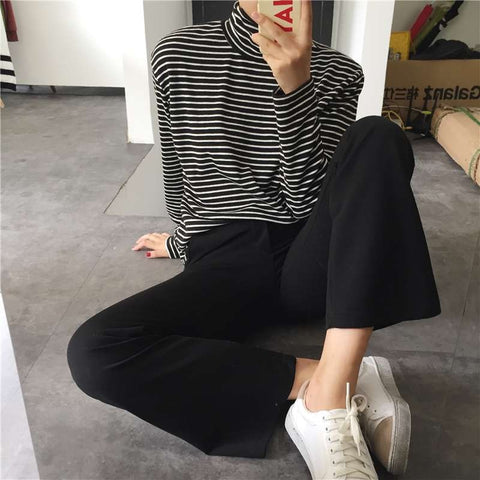 Turtleneck Long Sleeved Striped T-shirt
