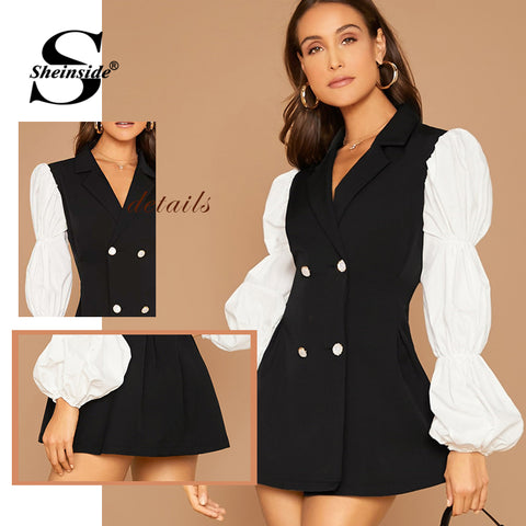Contrast Puff Sleeve Double Breasted Patchwork Blazer Dresses