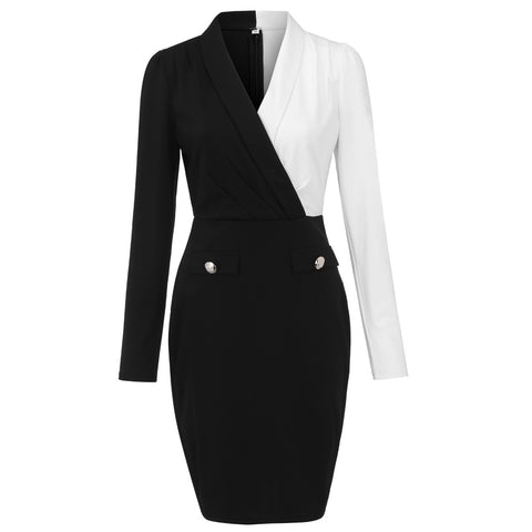V Neck Long Sleeve Button Stripe Patchwork Tight Blazer Dress