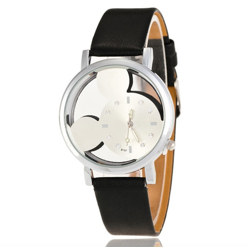 Crystals Clocks Luxury With Leather Watch