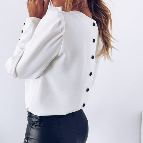 O Neck White Elegant Back Metal Buttons Casual Long Sleeve Blouses