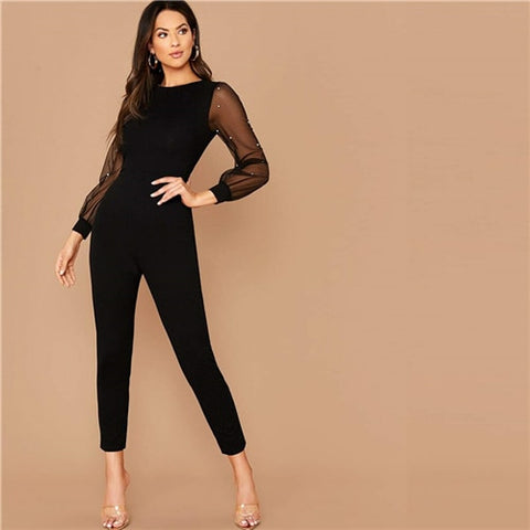 Black Pearls Mesh Sleeve Form Fitted Jumpsuit