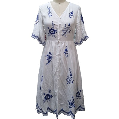 Vintage Blue Embroidery short Sleeve V neck Button Front Long Cotton Bohemian Dress