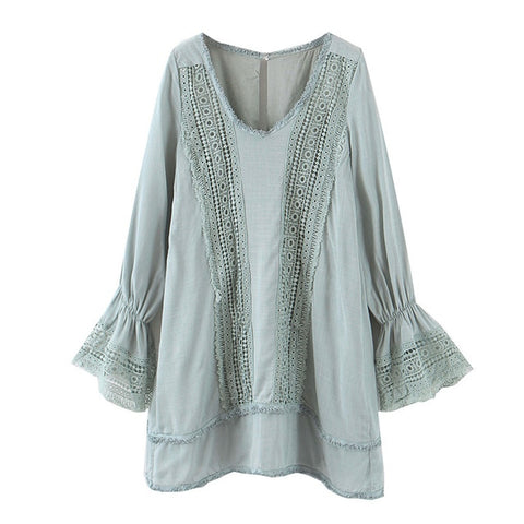 Long Sleeve Sweet Lace Patchwork Crochet Loose V neck Beach Casual Dress