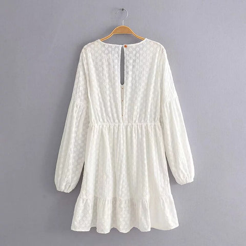 Cotton O neck Long Sleeve Elegant Embroidered Waist Lace Up Mini White Dresses