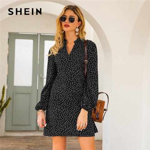 Green Notched Polka Dot A line Bishop Long Sleeve Dresses