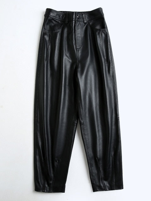 Genuine Sheepskin Ankle Length High waist Thickened Slim Leather Pants