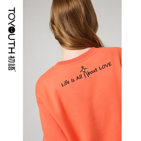 Casual Letter Embroidery Long Sleeve Sweatshirts