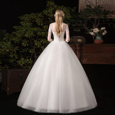 The Half Sleeve Lace Up Ball Gown Romantic Princess Classic Appliques Wedding Dresses