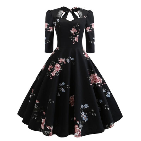 Print Back Tie Pin Up Floral Dress