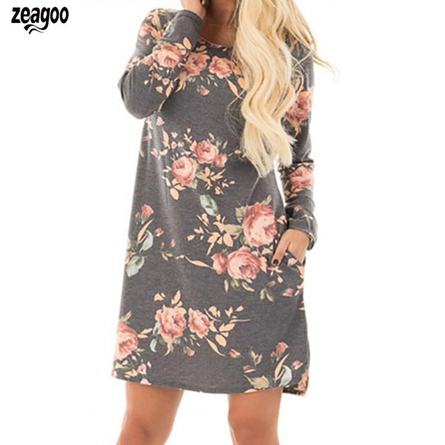 Print O Neck Long Sleeve Above Knee Floral Dress