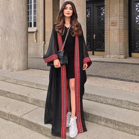 Sexy See Through Embroidered Long Kimono