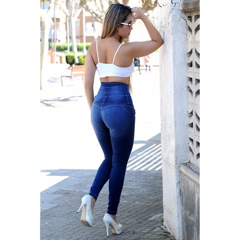 High Waist Button Push Up Pencil jeans