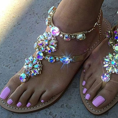 Rhinestones Chains Thong Gladiator Flat Sandals Crystal Chaussure Plus Size 42
