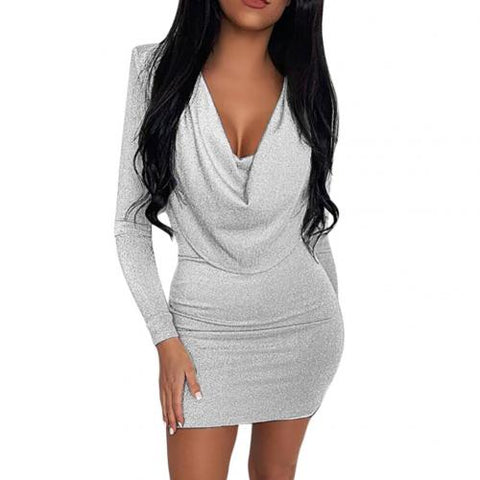 Solid Color V Neck Slim Bodycon Mini Long Sleeve Dress