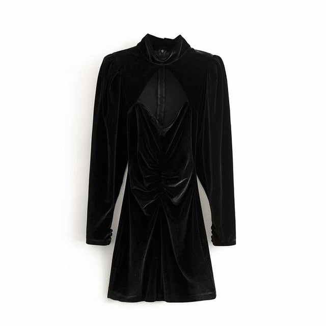 casual solid color hollow design high neck velvet long sleeve dress