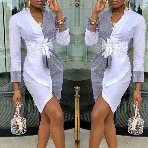 Long Sleeve V neck Casual Shirt Dress