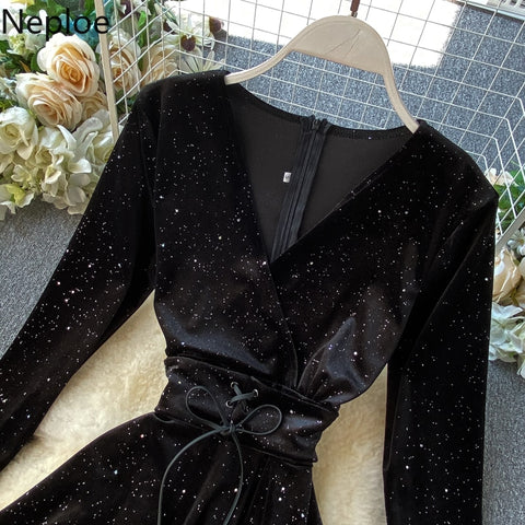Elegant Retro Velvet High Waist Hip A Line Long Sleeve Lace Black Dress